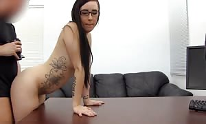awesome brown-haired is being penetrated from booty at the audition