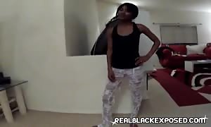 Pale sex mashine is disciplining her black booty