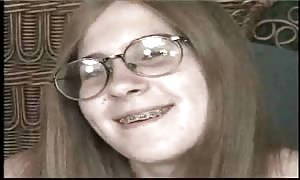 Dorky youngster in braces banged rock hard