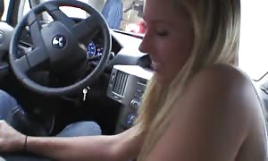 blowjob in the car by a hot blonde teen