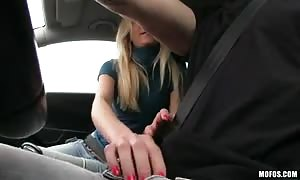 hj and blowjob by a horny blond