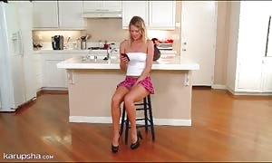 Heather Starlet in a tube top and short mini skirt